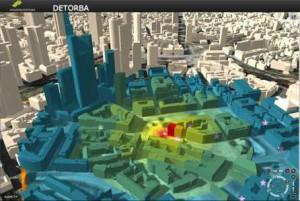 Simulation d'explosion dans le centre de Francfort - Source : VirtualCitySystems